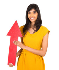 indian girl holding direction arrow pointing up