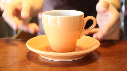 Female Barista In Cafe Shop Serving A Cup Of Coffee, Stock Video