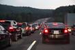 Traffic jam on German highway at night