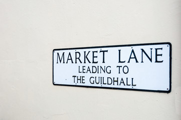Sign for market lane, guildhall, Lavenham, UK