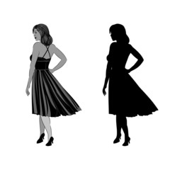 Silhouette of a girl with ball gown vector illustration
