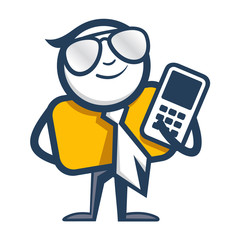 Man with mobile phone logo