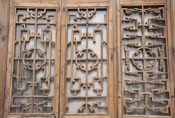 Chinese carved wooden window