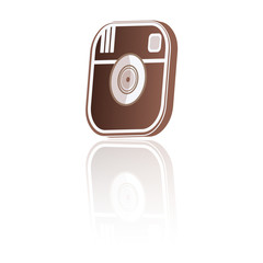 camera icon 3d with reflection