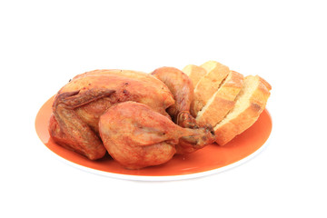 grilled chicken and bread isolated