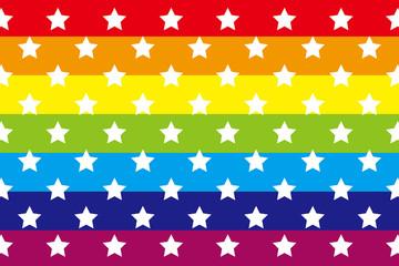 背景素材壁紙 (レインボー, 虹, 虹色, 七色, 縞, 縞模様, 星, 星の模様, 星模様, 星の図柄,)