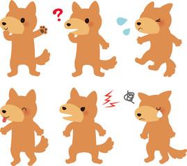 茶色い犬のいろいろなポーズ