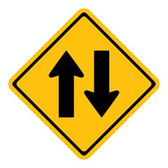 Warning two way traffic sign