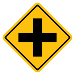 Warning traffic sign intersection