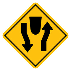 Warning sign Dual Carriage Way Ahead,Divided Highway