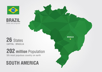 Brazil world map with a pixel diamond texture.