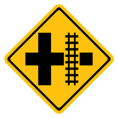 Warning traffic sign Railroad crossing