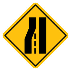 Warning traffic sign, Road narrows on left