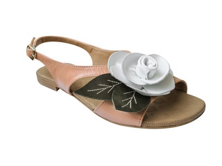 Ladies sandal with white leather rose