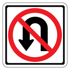 Warning traffic sign DO NOT RETURN LEFT