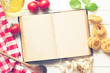 blank recipe book and fresh ingredients
