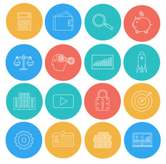 Flat lines icons of business and finance. Electronic commerce, S