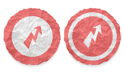 two icons with texture crumpled paper and flash symbol