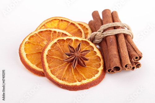 canvas print picture dried orange and cinnamon