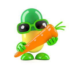 3d Pill holding a carrot