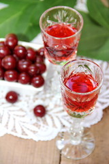 Cherry liqueur and fresh cherry