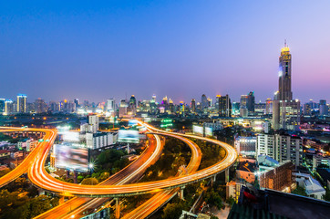 Bangkok at night with express way