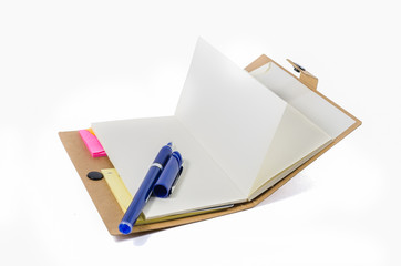 book and pen on white background