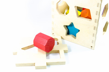 box of wooden toy block isolated