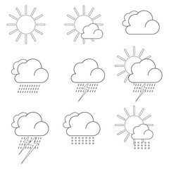 Flat white weather icons. Raster