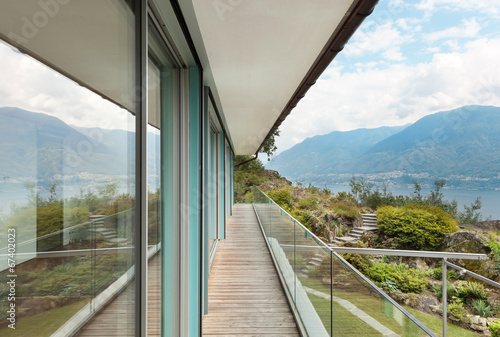 canvas print picture mountain house, outdoor