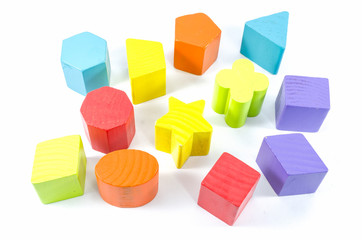 group of wooden toy blocks isolated