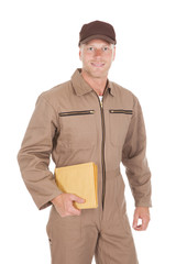 Postman Holding Envelopes Over White Background
