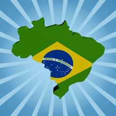 Brazil map flag on blue sunburst illustration