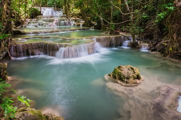 Huay mae kamin large waterfall in Kanchanaburi, Thailand