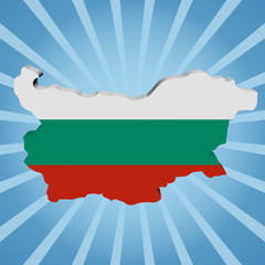 Bulgaria map flag on blue sunburst illustration