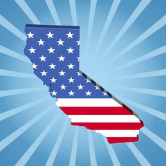 California map flag on blue sunburst illustration