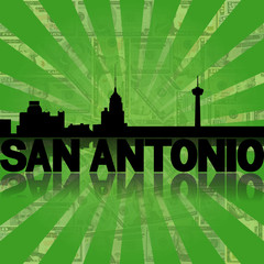 San Antonio skyline reflected dollars sunburst illustration
