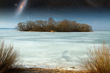 frozen river in spring. Elements of this image furnished by NASA