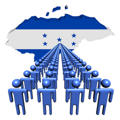 Lines of people with Honduras map flag illustration