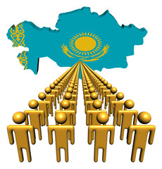 Lines of people with Kazakhstan map flag illustration