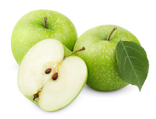 Ripe green apples with leaf and half isolated on white