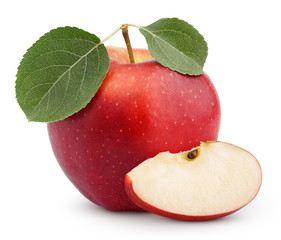 Ripe red apple with green leaves and slice isolated on white
