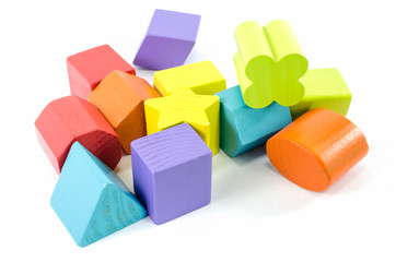 wooden toy blocks isolated