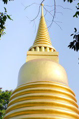 Golden pagoda in bangkok temple, Thailand