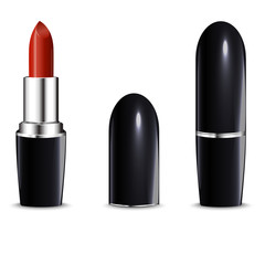 Red lipstick in black case. Isolated on white.