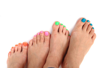 pedicure (color nails) and women feet