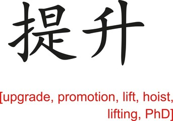 Chinese Sign for upgrade, promotion, lift, hoist, lifting, PhD