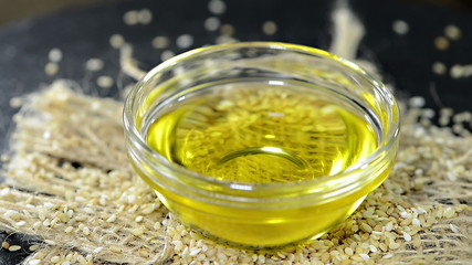 Small portion of rotating Sesame Oil (loopable HD video)