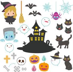 ハロウィンのおばけと屋敷