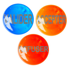 boutons valider, accepter, refuser